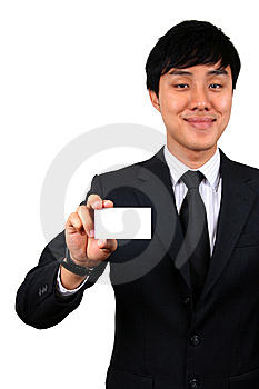Young Asian Business Man Holding A Name Card. Royalty Free Stock Photos - Image: 8832928