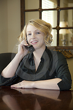 Lady In Office On Phone Royalty Free Stock Images - Image: 8833669