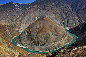 Jinsha Jiang River Huge Natural Curve Royalty Free Stock Photos - Image: 8834918