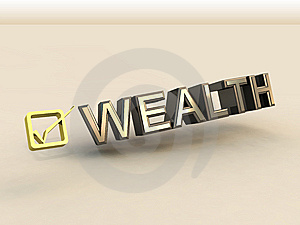 Checkbox In 3D And Wealth Text Royalty Free Stock Images - Image: 8836059