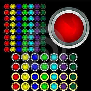 Set Of Multi-coloured Buttons With Boards Royalty Free Stock Image - Image: 8836736
