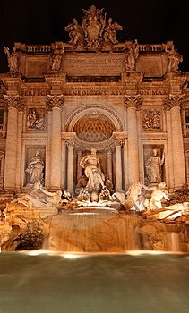 The Trevi Fountain At Night Royalty Free Stock Images - Image: 8841729