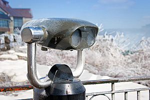 Iced Old-fashioned Tourist Binoculars Royalty Free Stock Image - Image: 8845026