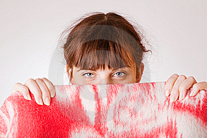 Girl Face Hiding Behind A Towel Stock Photography - Image: 8847242