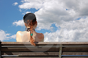 Girl, Bench And Clouds Stock Image - Image: 8847951