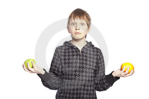 Boy Holding Apple And Orange Royalty Free Stock Images - Image: 8848389