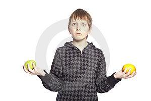 Boy Holding Apple And Orange Royalty Free Stock Images - Image: 8848389