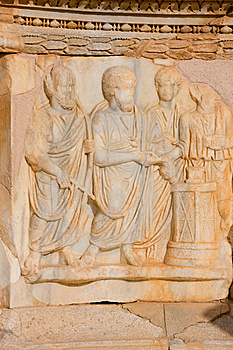 Sculptured Frieze With Four Men, Sabratah - Libya Royalty Free Stock Images - Image: 8850299