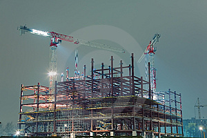 Cranes On Construction Site Royalty Free Stock Images - Image: 8850839