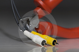Clippers Ready To Cut Audio Cable Stock Photography - Image: 8850852