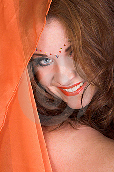 Belly Dancer With Orange Scarf Stock Photos - Image: 8855193