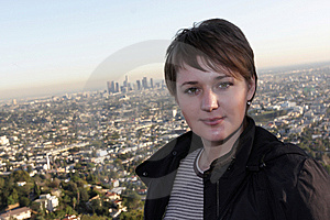 Girl On Los Angeles Background Stock Photo - Image: 8856360