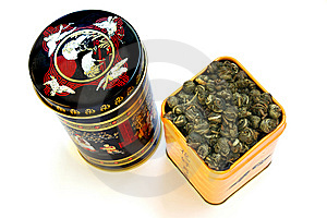Two Boxes With The Chinese Green Tea Stock Photos - Image: 8857713