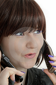 Young Beautiful Woman Using Call Two Phones Royalty Free Stock Photos - Image: 8857998