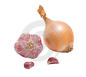 Onion, Garlic Bulb And Cloves Royalty Free Stock Photos - Image: 8858348