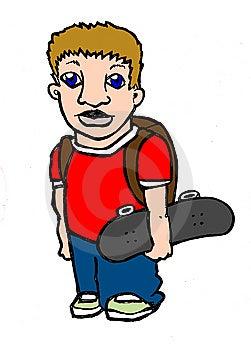 Cool School Kid Holding Skateboard Stock Photos - Image: 8861023