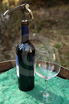 Wine Bottle, Corkscew And Glass Royalty Free Stock Image - Image: 8862936