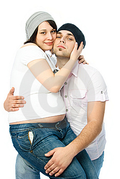 Happy Pregnant Woman And Her Husband Royalty Free Stock Image - Image: 8863296