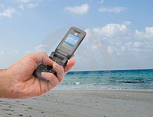 Shooting Shoreline On A Cellphone Royalty Free Stock Photography - Image: 8865727