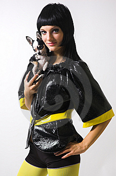 The  Girl With A Small Dog Stock Image - Image: 8869601