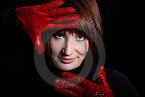 Woman Looking Straight From Dark Stock Photo - Image: 8871540