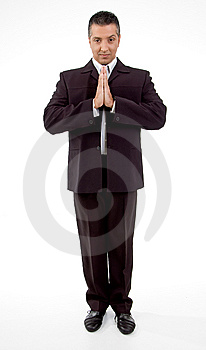 Front View Of Praying Adult Businessman Royalty Free Stock Image - Image: 8871566