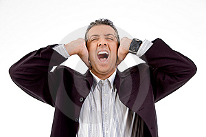 Shouting Businessman Putting Hands On His Ears Royalty Free Stock Photography - Image: 8871597