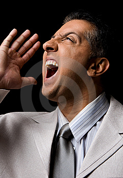 Side View Of Shouting Adult Executive Looking Up Stock Photo - Image: 8872020