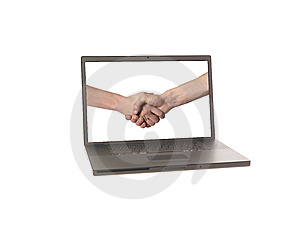 Laptop Displaying Two Hands Royalty Free Stock Photo - Image: 8872705