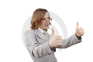 Successful Business Woman Shows OK. Stock Photo - Image: 8872830