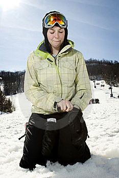 Beautful Girl At Ski Hill Putting On Her Gloves Stock Photos - Image: 8877313