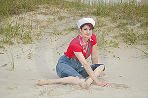 Sailor Woman On The Beach Stock Photos - Image: 8877643