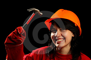 Young Woman With Work Tools Royalty Free Stock Photos - Image: 8878868