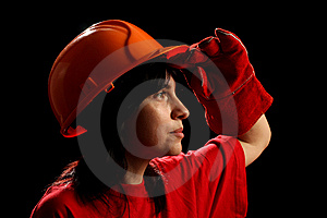 Young Woman With Helmet Royalty Free Stock Image - Image: 8878886