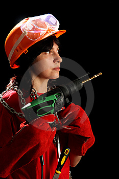 Young Woman With Drill Stock Photo - Image: 8879050