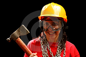 Young Woman With Chain And Axe Royalty Free Stock Image - Image: 8879246
