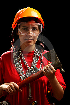 Young Woman With Chain And Axe Stock Photography - Image: 8879272