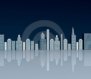 Buildings With Reflection Illustration Stock Image - Image: 8879361