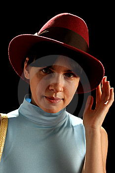 Young Woman With Red Hat Royalty Free Stock Photo - Image: 8879525