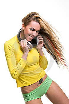 Attractive Young Woman With Headphones Over White Stock Photography - Image: 8880232