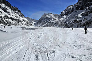 Skiing Down The Glacier Stock Images - Image: 8880524