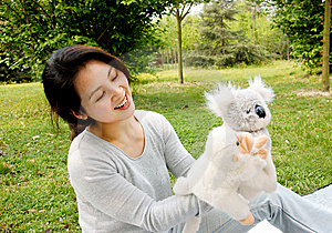 Mother Playing Plush Toys With Son Royalty Free Stock Images - Image: 8881009