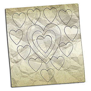 Crumpled Paper With Drawings Of Hearts Stock Image - Image: 8884541