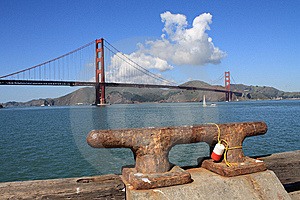 Golden Gate Bridge And Boat Mooring Stock Photos - Image: 8885353