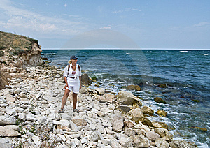 A Happy Woman At The Seashore. Stock Photos - Image: 8885933