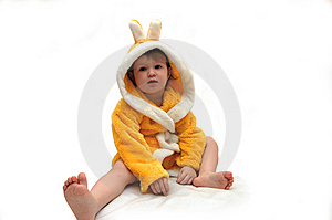 Portrait Of  Little Girl In Dressing Gown Stock Photography - Image: 8887892