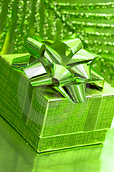 Gift Box On Green Stock Image - Image: 8888371