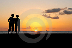 Enjoying Sunset Stock Photo - Image: 8889600