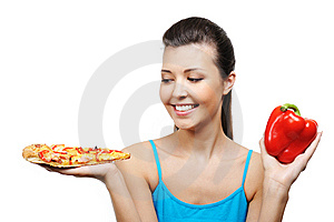 Woman Pizza And Pepper Stock Image - Image: 8895721