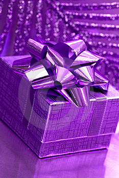 Gift Box On Violet Background Stock Photography - Image: 8896872